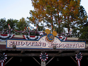 Shooting Gallery decorated for Disneyland 50th anniversary
