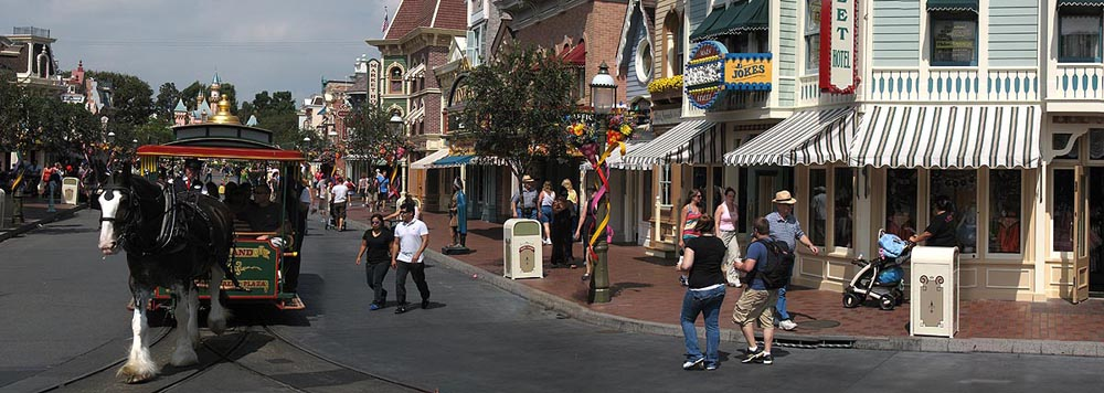 Disneyland Main Street with Horse Drawn Trolley