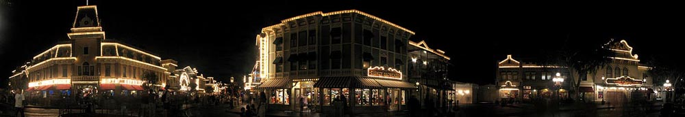 Disneyland Nighttime Main Street Panorama
