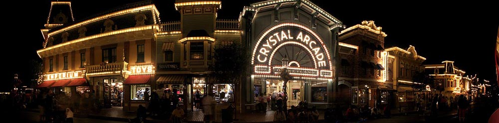 Disneyland Crystal Arcade and Emporium at Night