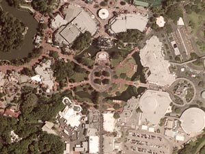 Satellite View of Disney's Magic Kingdom Theme Park, Orlando Florida