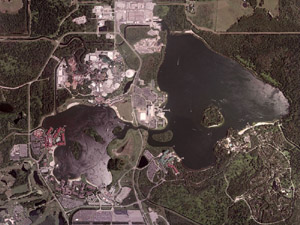 Satellite View of Bay Lake and Seven Sea's Lagoon, Disneyworld