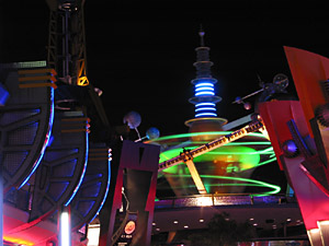 Nightshot of Tomorrowland's Astro Orbiters Ride