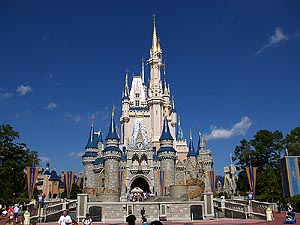 WDW Cinderella's Castle under a Bright Blue Sky